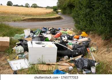 Much Hadham, Hertfordshire. UK. June 28th 2020. Illegal fly tipping of household waste in a country lane in Much Hadham, Hertfordshire.