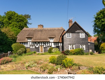Much Hadham, Hertfordshire. UK. May 25th 2020. Country cottage with thatched roof and cottage garden in Malting Lane, Much Hadham, Hertfordshire.