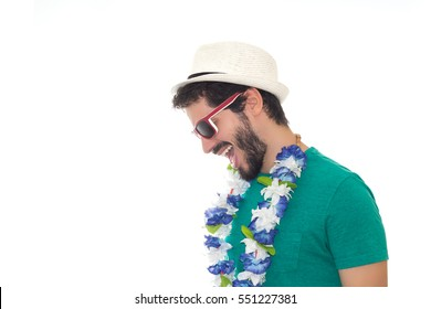 Much joy and fun at the carnival. Man wearing sunglasses, hat and flower necklace. White background.