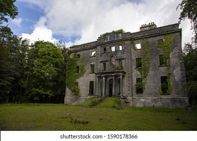MUCKLOON, COUNTY MAYO, IRELAND - Aug 06, 2019: The ruined house and estate of aristocrat and wine merchant George Henry Moore who fed and saved his tenants from starvation during the Irish famine