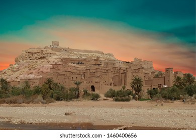 Mud brick buildings of the Ait ben Haddou,  Morocco, Africa
