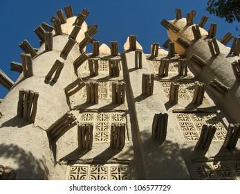 Mud brick mosque in Saba, Mali, Africa.