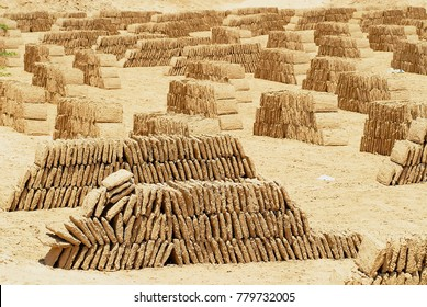 Mud bricks dry at the sun at a mud brick factory in Shibam, Yemen.
