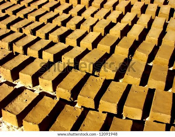mud bricks getting dry