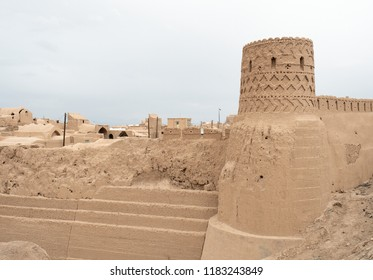 Mud bricks walls of Shah Abbasi Caravanserai, Meybod, Iran