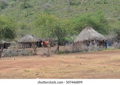 mud house called maasai boma in Tanzania Africa