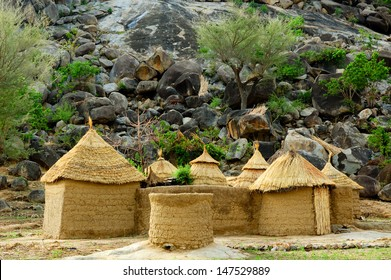 Mud house in the Mandara Mountains region of Cameroon, West Africa. The Mandara Mountains are a volcanic range extending about 200km along the northern part of the Cameroon-Nigeria border.