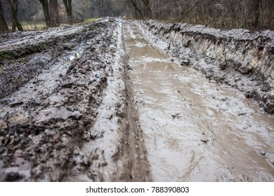 Mud on the road after heavy rain