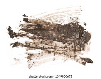 Mud splatter isolated on white background, with clipping path