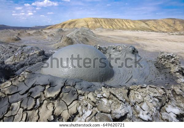 Mud volcano at Gobustan national park erupt. Azerbaijan