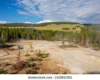Mud Volcano and Sulfur cauldron are primarily mud pots and fumaroles because the area is situated on a perched water system with little water available.