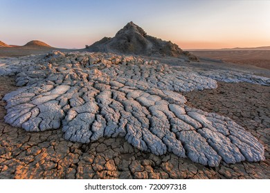 Mud volcanoes in Gobustan desert, Azerbaijan