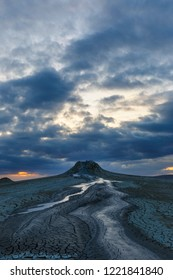 Mud volcanoes in Gobustan at sunset