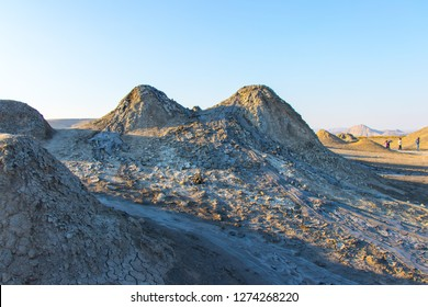 Mud volcanoes valley. Active mud volcanoes in Gobustan desert, Azerbaijan.