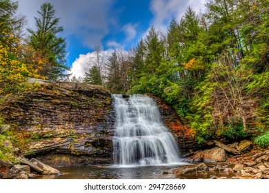Muddy Falls Waterfall in the Appalachian Mountains during Autumn