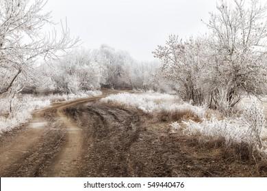 Muddy road across frozen land