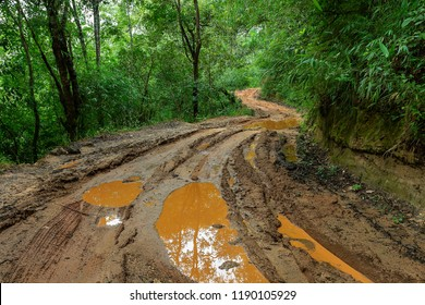 Muddy roads-Roads in rural Thailand filled with Muddy,Forest tourist routes in thailand,Hiking outdoors on rough terrain.