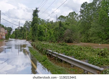 The muddy water of a river overflows its banks after days of rain and floods a back road