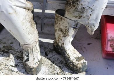 Muddy White Boots
