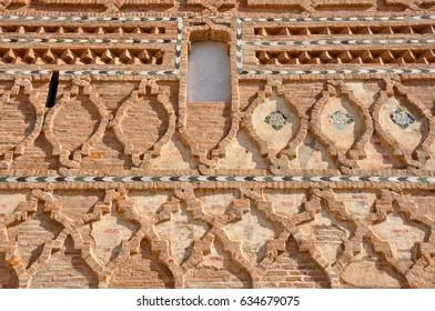 Mudejar decoration  of Church of Santa Maria in Tobed (Zaragoza), Aragon, Spain