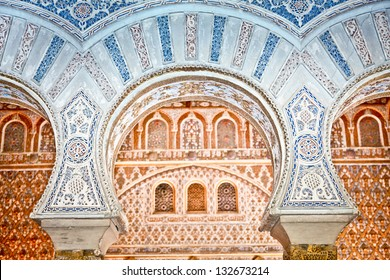 Mudejar decorations in the Royal Alcazars of Seville, Spain.