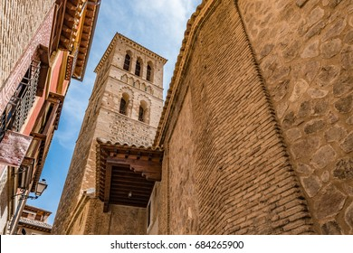 Mudejar tower of the Iglesia de Santo Tome in the Historic City of Toledo. The Historic City of Toledo is a UNESCO World Heritage Site.