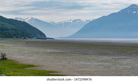 the mudflats and tide flats in turnagain arm of the cook inlet in Alaska with rugged mountains in the background