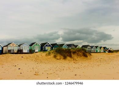 Mudford sandbanks, Dorset, England, Colorful Beach huts in Mudeford sandbanks, most expensive beach huts
