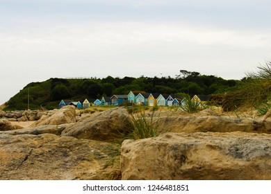 Mudford sandbanks, Dorset, England, UK, Colorful Beach huts in Mudeford sandbanks, most expensive beach huts