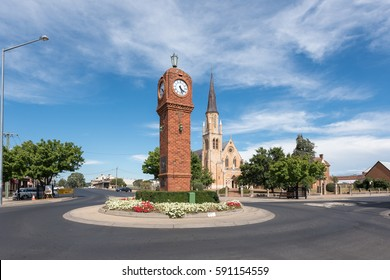 Mudgee, New South Wales, Australia - Feb 25, 2017: cityscape of Mudgee CBD, a town in the Central West of New South Wales, at the centre of the Mid-Western Regional Council local government area.