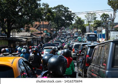 Mudik or Pulang Kampung traffic congestion the traditions of Indonesian Muslims come to their hometowns from big cities to celebrate Eid or Lebaran at Cileunyi, Bandung, Indonesia ( 05/06/2019 ).