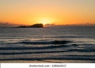 Mudjimba Island glowing at sunrise on the Sunshine Coast