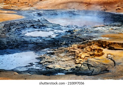 Mudpots at the geothermal area Hverir, Iceland.