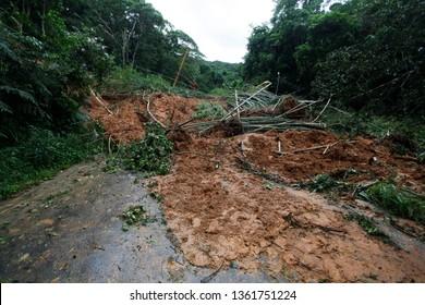 Mudslide and trees blocking a road on the coastal city of Sao Sebastiao, Brazil.