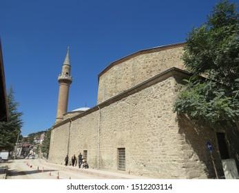 MUDURNU, BOLU, TURKEY - AUGUST 29, 2019: Yildirim Beyazit Mosque in Mudurnu. Mudurnu is a small town with picturesque Ottoman era houses. Additionally Mudurnu earned cittaslow designation in 2018.