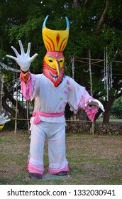 Mueang Loei, Loei province / Thailand - March 6,2019:Phi Ta Khon - Ghostlike creature made by local people called Phi Ta Khon, a name of ghost in ancient belief and culture of Loei Province, Thailand