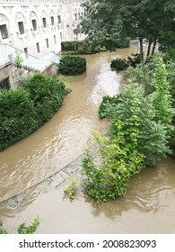 Muelheim, NRW, Germany 07-15-2021 Extreme high flood of the river Ruhr, water flowing through a park