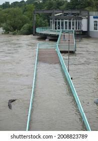 Muelheim, NRW, Germany 07-15-2021 Extreme high flood of the river Ruhr
