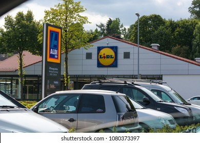 MUELHEIM RUHR, NRW, GERMANY - AUGUST 21, 2017: Aldi and Lidl supermarket parking lot in Muelheim in Mülheim, Ruhr area