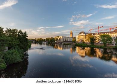 Muelheim - View from Castle Bridge towards Marina of Muelheim nearby the Townhall, North Rhine Westphalia, Germany, Muelheim, 30.07.2018