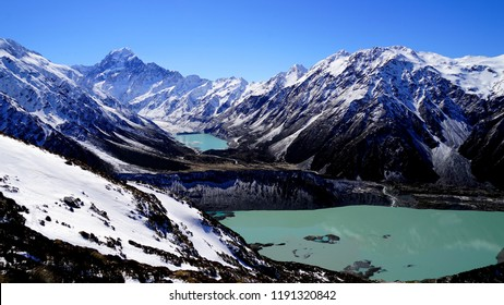 Mueller lake and Hooker Lake in the mountain, Hooker valley track, New Zealand