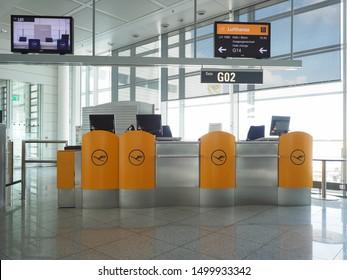 MUENCHEN, GERMANY - CIRCA AUGUST 2019: Muenchen Flughafen airport gate