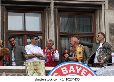 MUENCHEN GERMANY - may 26, 2019:Robert Lewandowski, Serge Gnabry, Leon Goretzka, Franck Ribery , James Rodriguez from FC Bayern Munich are celebrating the German Football Championship and the DFB Cup