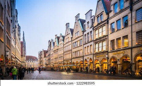 Muenster, Rhine-Westphalia / Germany - 12 06 2016: Traditional north Germany houses, buildings facade downtown Muenster, Germany.
