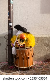 Muensterberg, Basel, Switzerland - March 12th, 2019. Close-up of a snare drum with a carnival mask on top