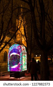 Muensterplatz, Basel, Switzerland - February 20th, 2018. Basel carnival. Beautiful illuminated lantern with the Basel minster in the background