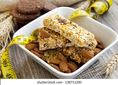 Muesli bars and almonds,diet concept