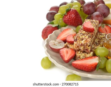 Muesli bars with berries on a white background