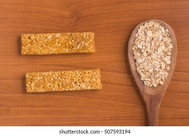 Muesli Bars. Nutri, Oat, Protein Bars over a wooden table
