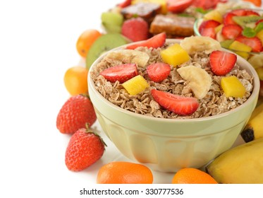 Muesli with berries on a white background